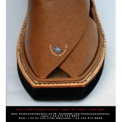Imran Khan Chappal Full Leather - Textured Brown