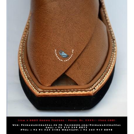 Imran Khan Chappal Full Leather - Textured Brown
