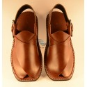 Maroonish Brown Round Shaped Lifted Front Peshawari Chappal