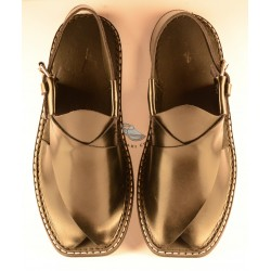 Black Round Shaped Lifted Front Peshawari Chappal
